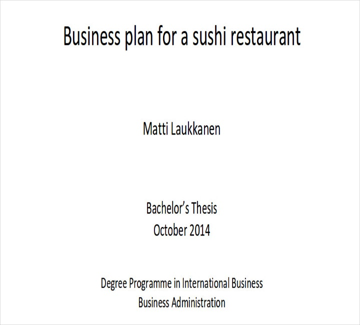 Small Restaurant Business Plan Sample
