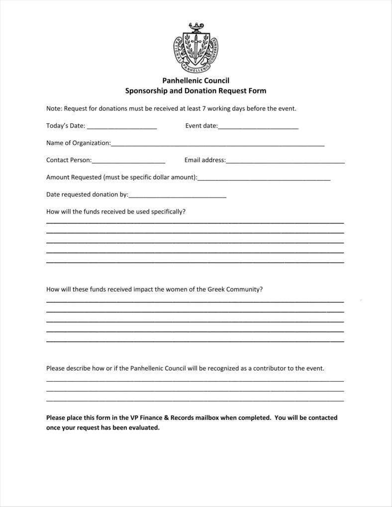 Blank Sponsorship And Donation Request Form  Blank Sponsorship Forms
