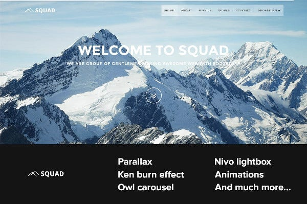 squad one page bootstrap template
