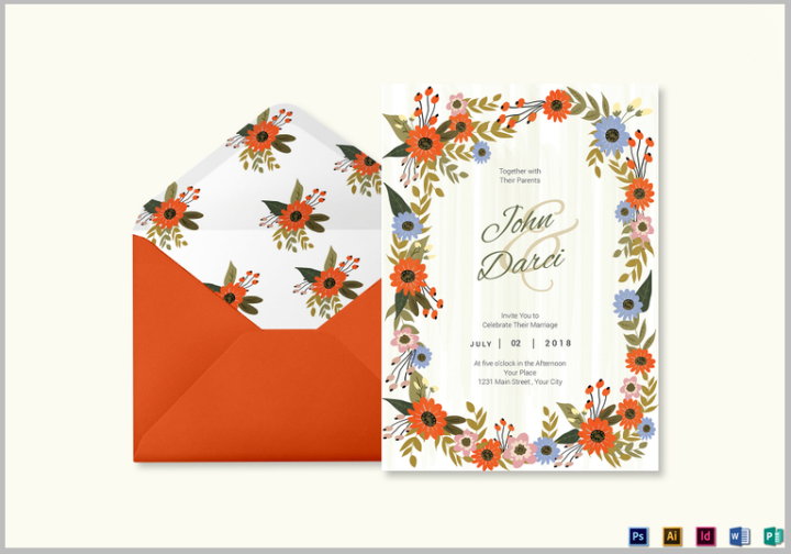 35 floral wedding templates editable psd ai format download summer floral wedding invitation card design template stopboris Choice Image