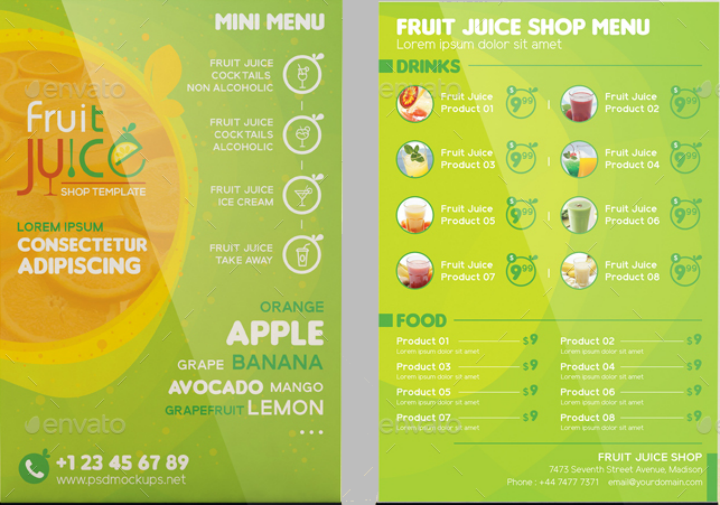 take out brochure and mini menu design