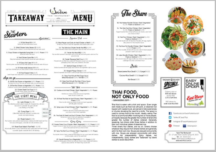 thai restaurant takeaway menu design