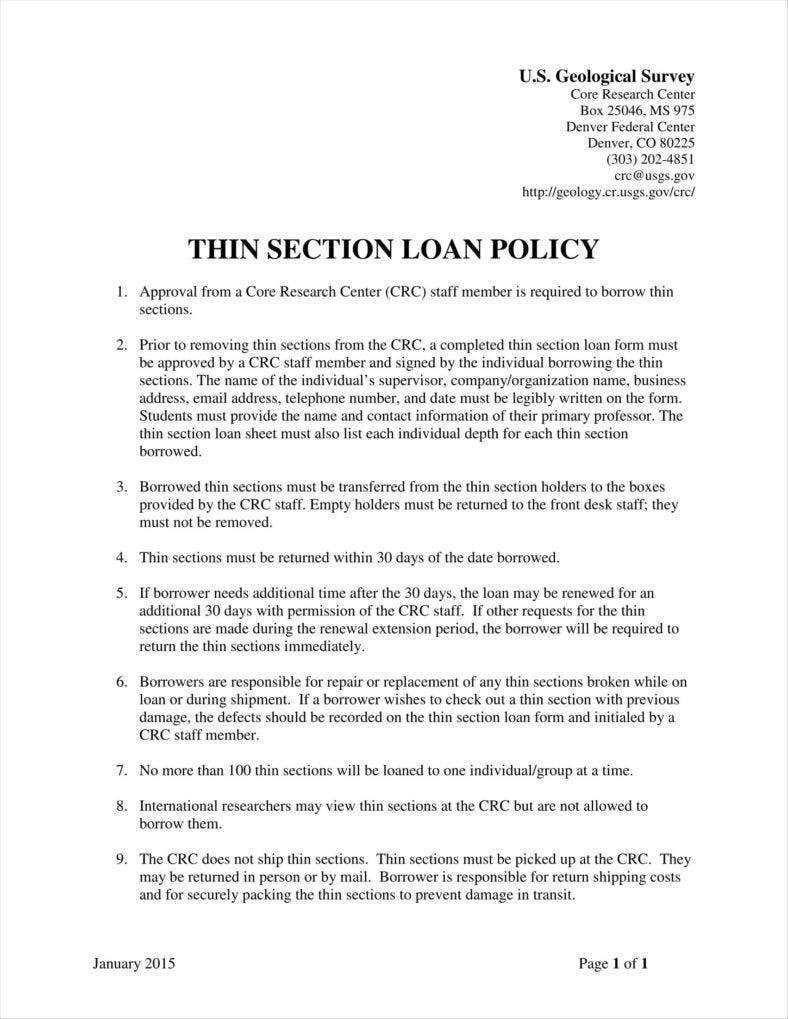 9 Loan Policy Templates Free Pdf Doc Format Download Free