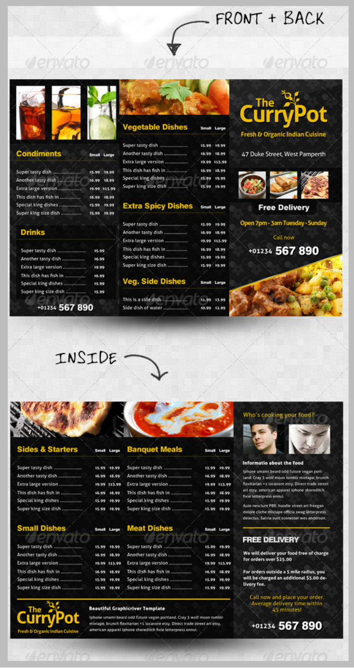 trifold takeaway menu design