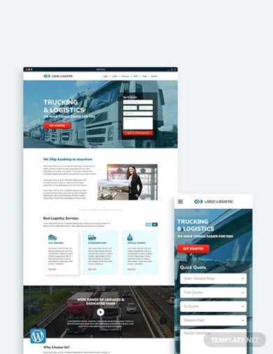 trucking logistics wordpress theme template
