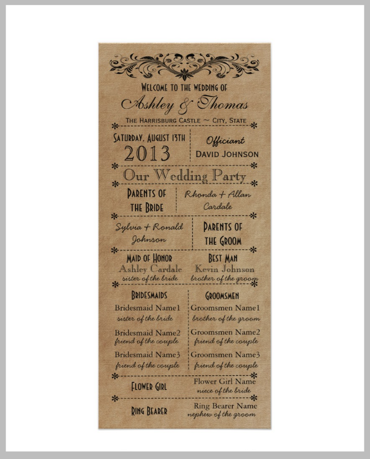 typography-style-wedding-program-template