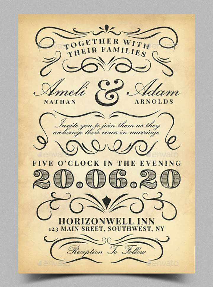 typography vintage wedding invitation template