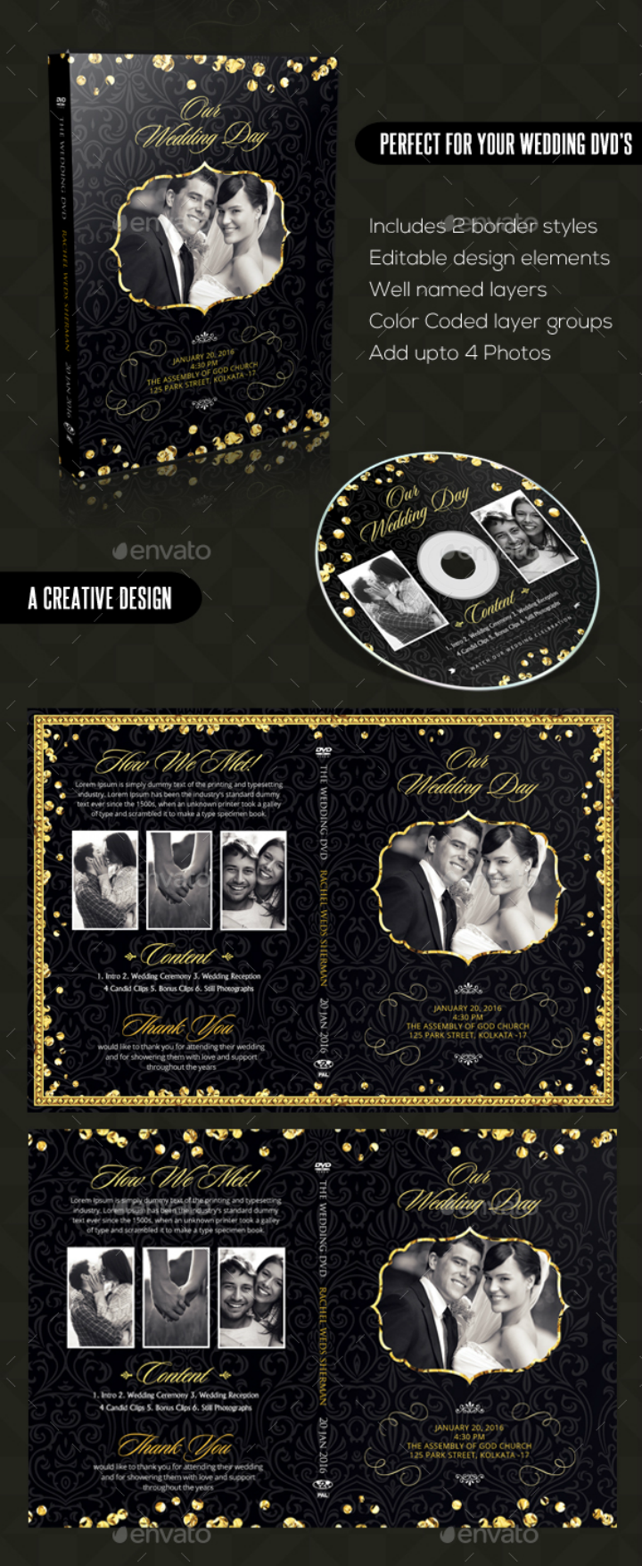 vintage black gold wedding dvd template