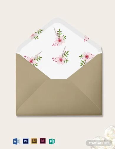 vintage floral wedding envelope template