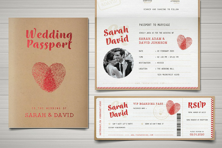 vintage passport wedding invitation template