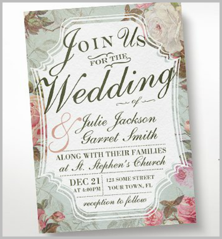 vintage rose wedding invitation template
