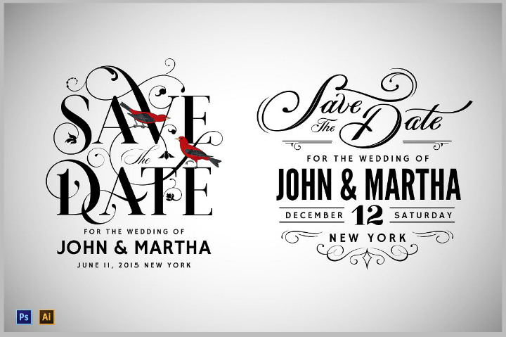 22 save the date templates editable psd ai format for Vintage save the date templates free