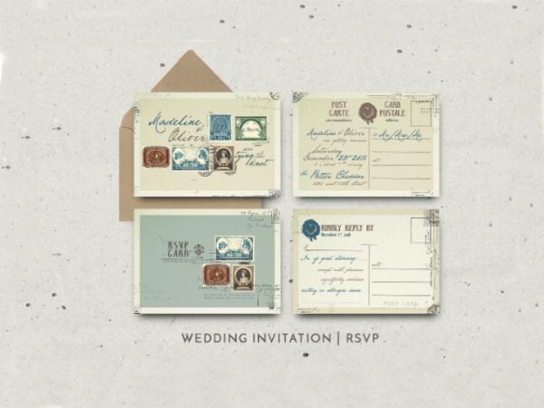 vintage stamp wedding invitation template featured img