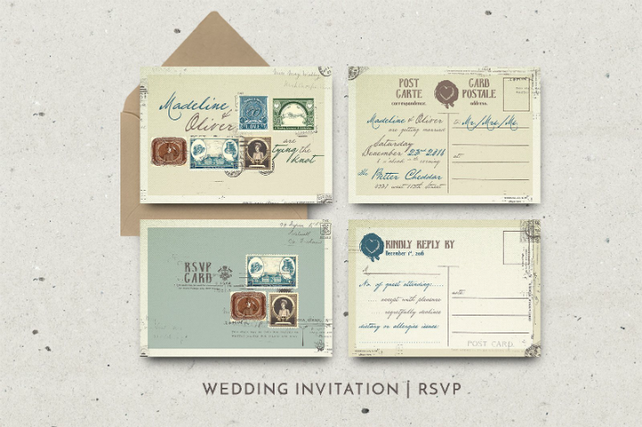 vintage stamp wedding invitation template