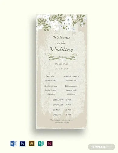 vintage wedding program card template