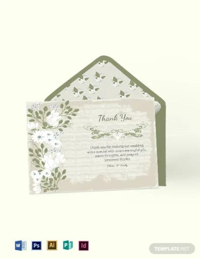 vintage wedding thank you card template