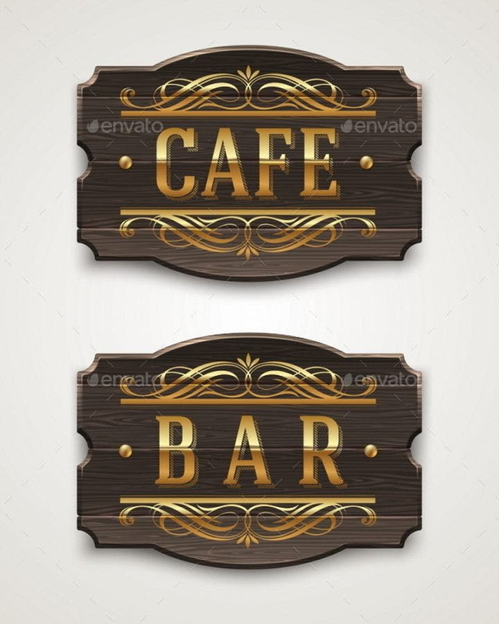 vintage wooden signs for cafe and bar with golden lettering and decorative elements 590
