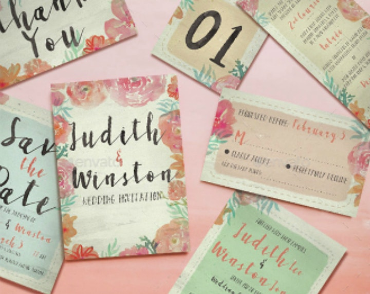 watercolor floral wedding template package