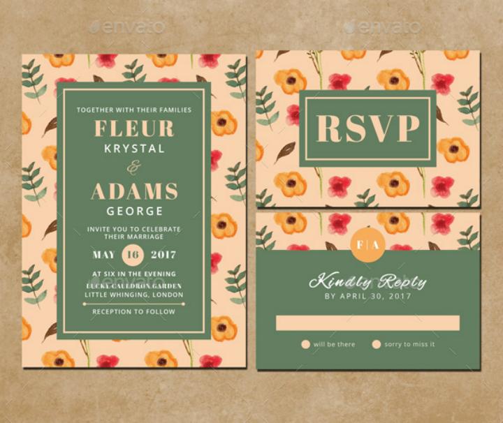 watercolor wedding invitation rsvp template
