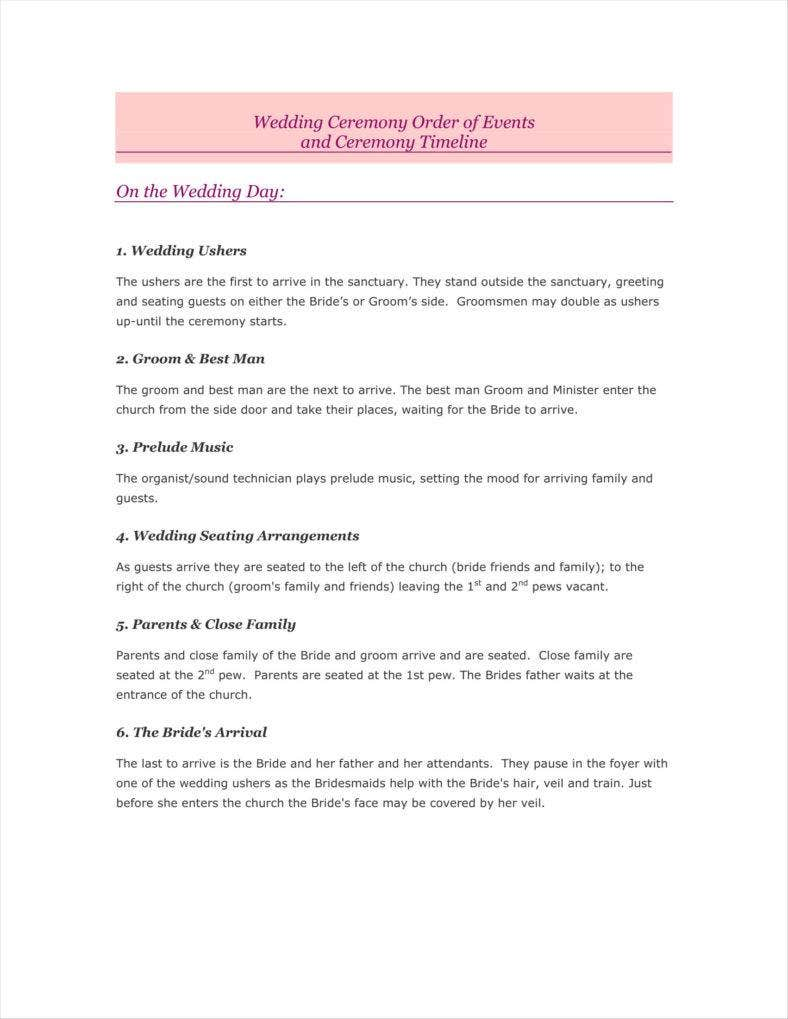 Traditional Wedding Day Timeline Template