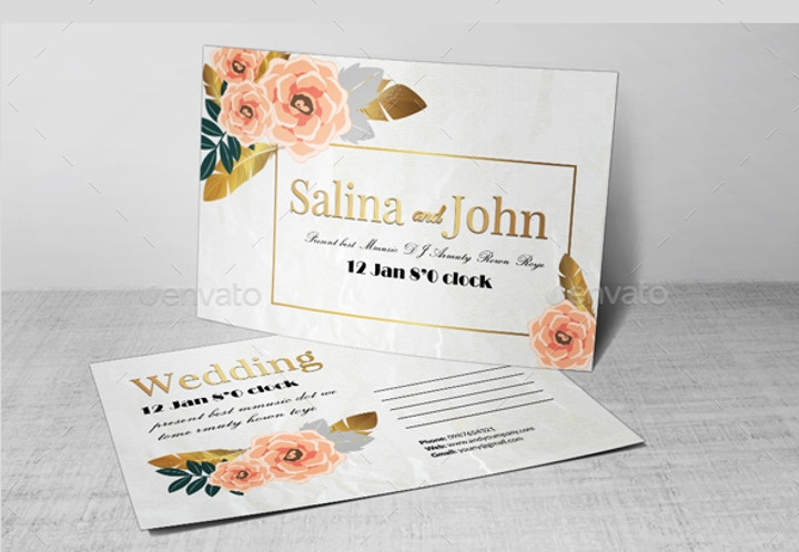 Wedding Postcard Print Template