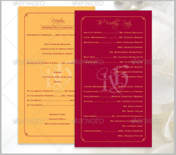 wedding reception program template bundle