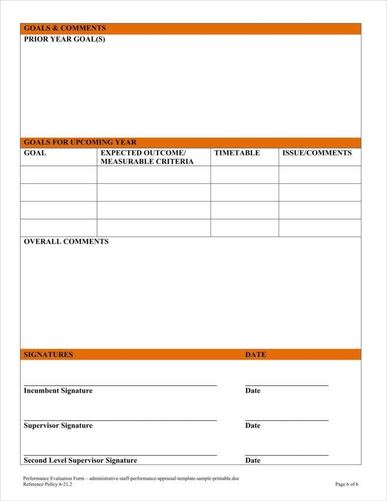 Administrative Staff Performance Appraisal Template Sample Printable 6  Employee Appraisal Form Sample