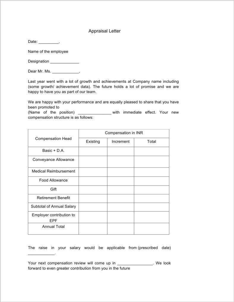 Appraisal Letter Templates  Free Doc Pdf Format Download