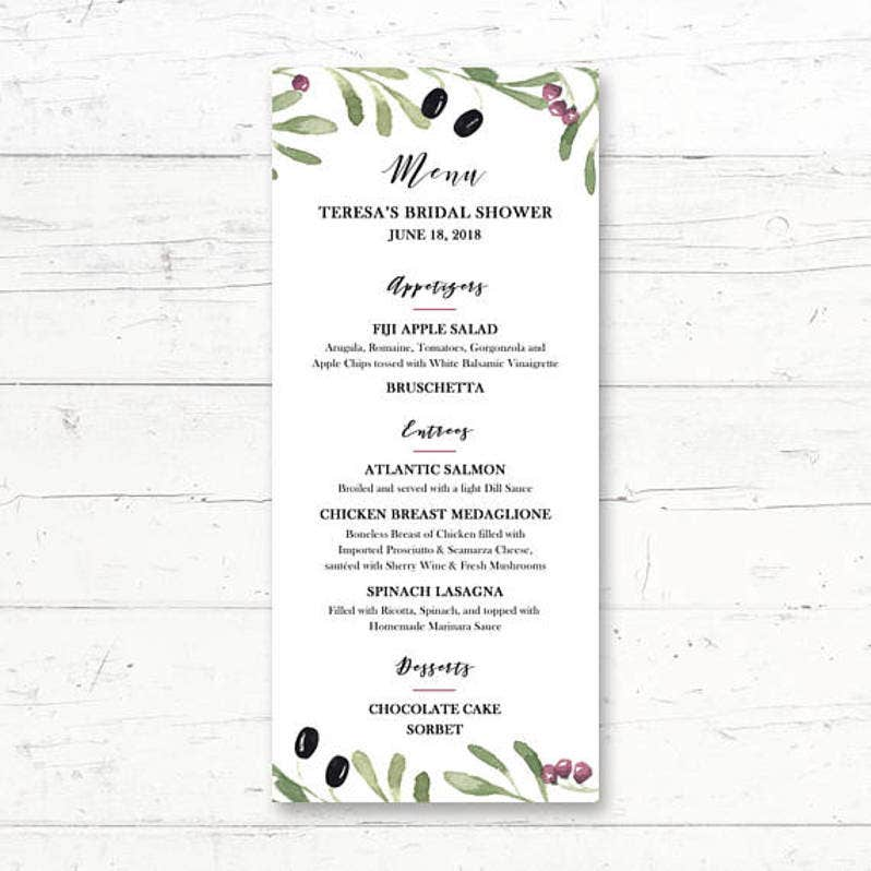 simple olive menu template