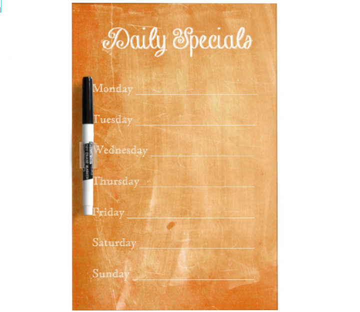 orange chalkboard menu template