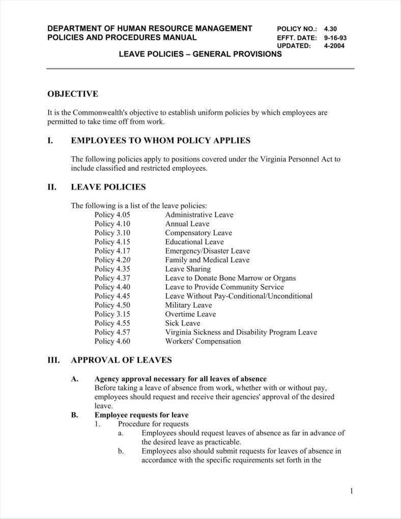 9 Leave Policy Templates Free Pdf Word Format Download Free
