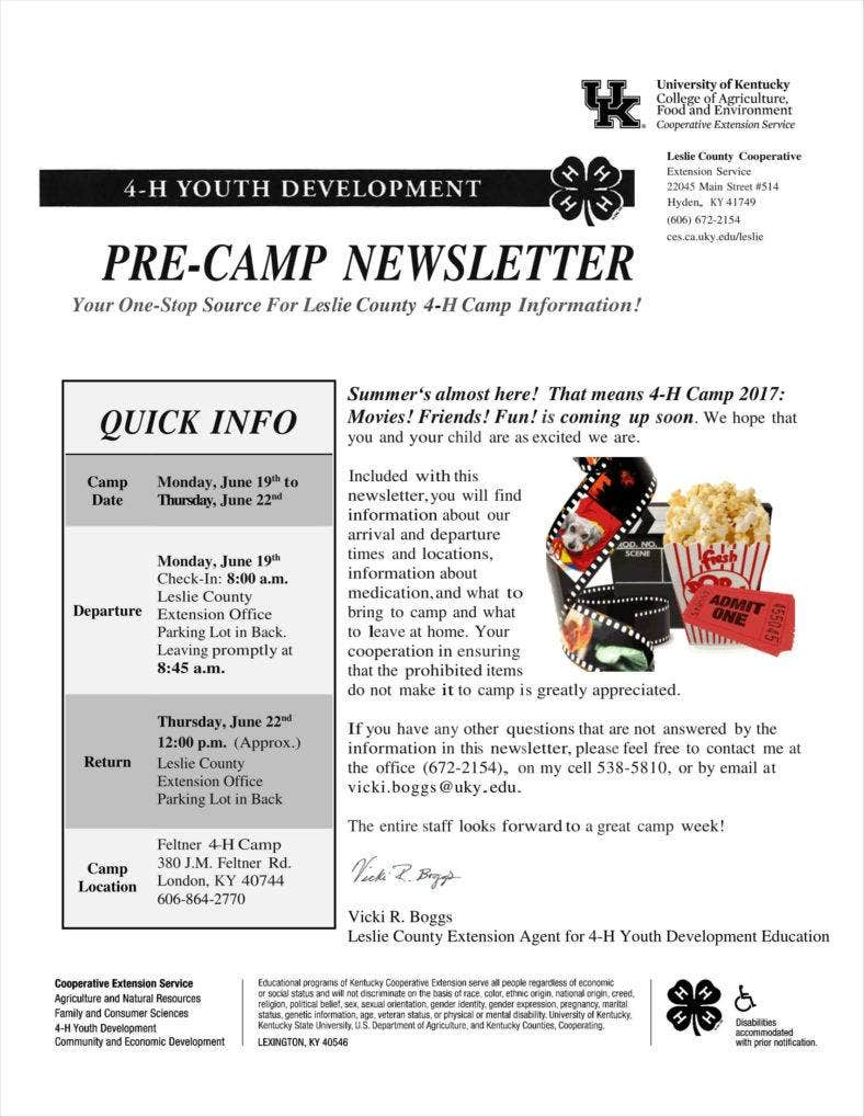 12  camp newsletter templates free pdf  psd format
