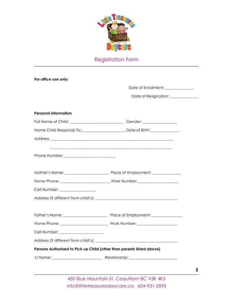 9+ Daycare Application Form Templates - Free PDF, DOC Format ...