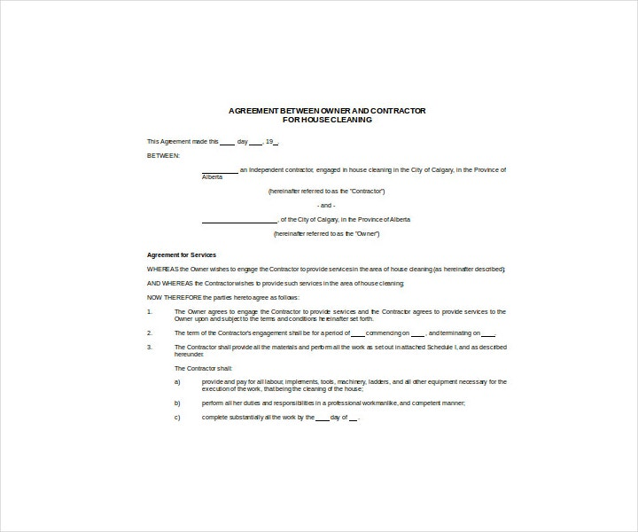 Agreement Between Owner and Contractor for House Cleaning
