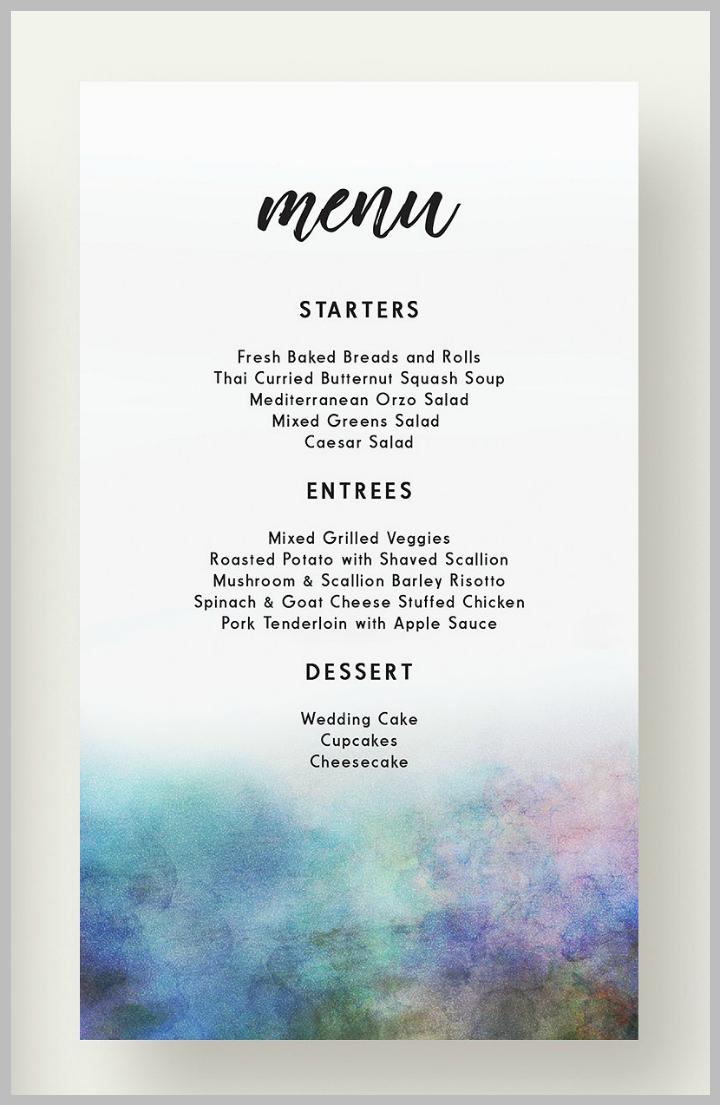 autumn lake wedding menu template