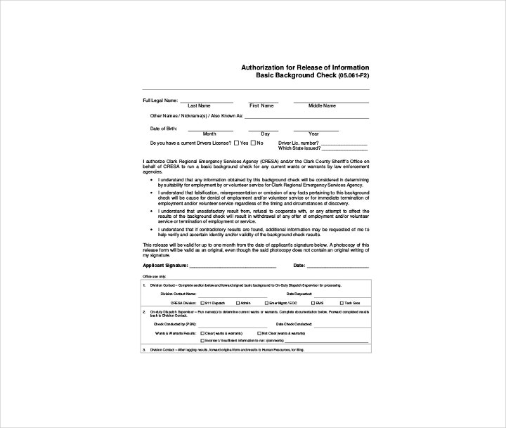 Background Check Authorization and Release Form