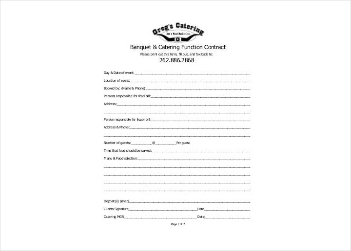 Banquet and Catering Contract Sample