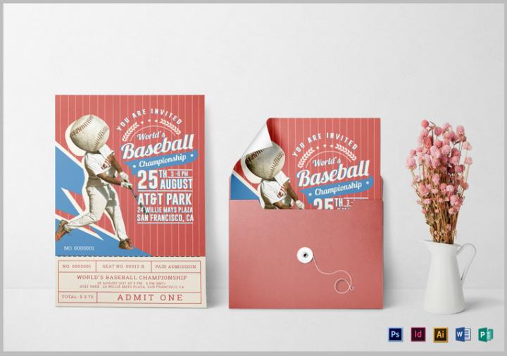 baseball ticket invitation card template psd