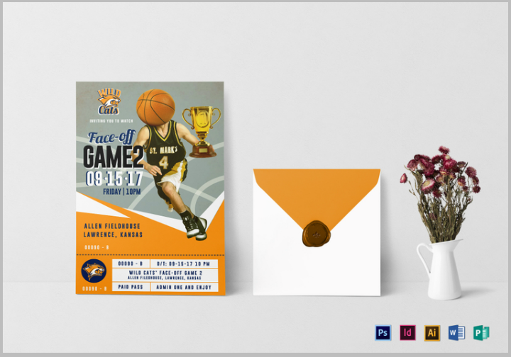 basketball ticket invitation card template psd