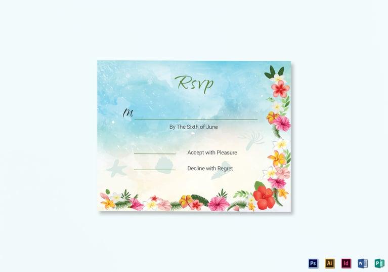 beach wedding rsvp card template