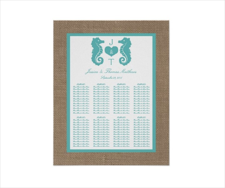 Beach Wedding Seating Chart Example