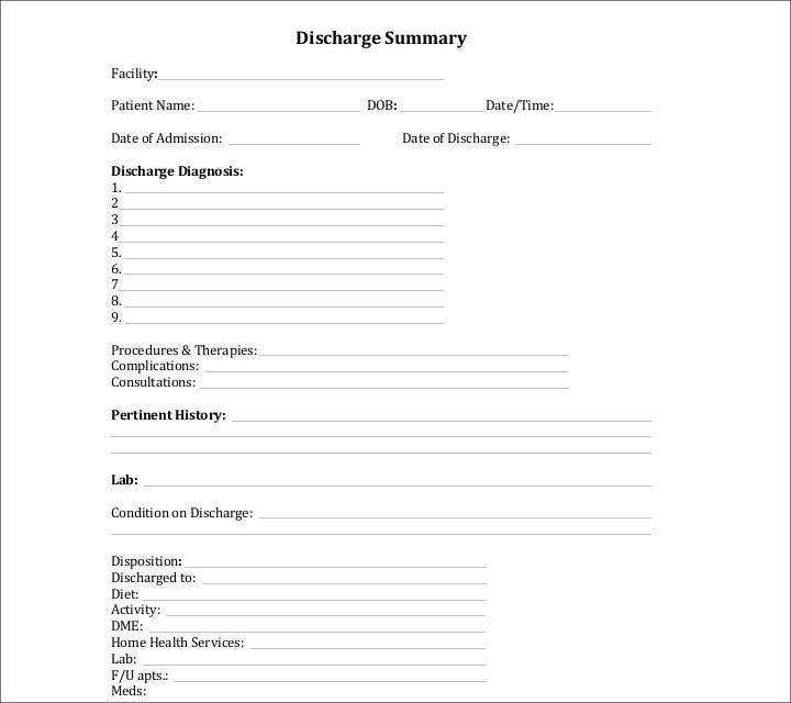 Blank Discharge Summary Template