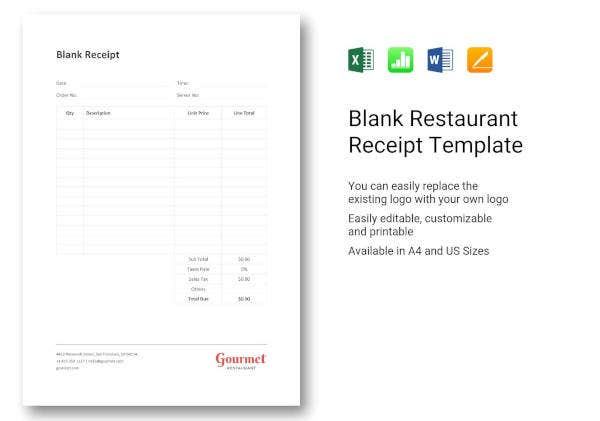 13 restaurant receipt templates free pdf doc format download