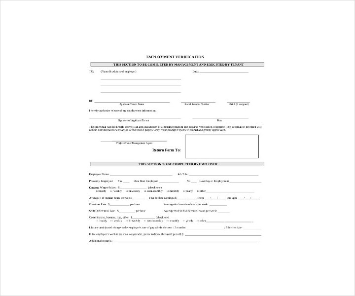 Blank Verification of Employment Form