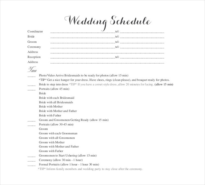 Blank Wedding Schedule Template