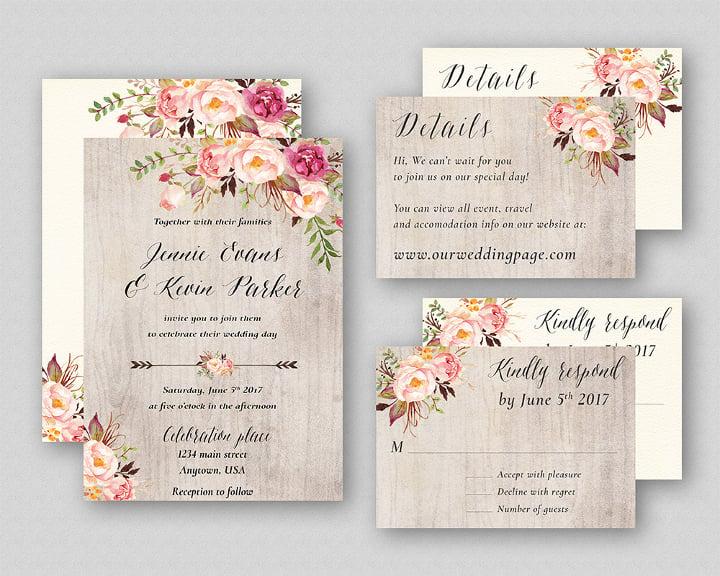 Boho Wedding Invitation Suite