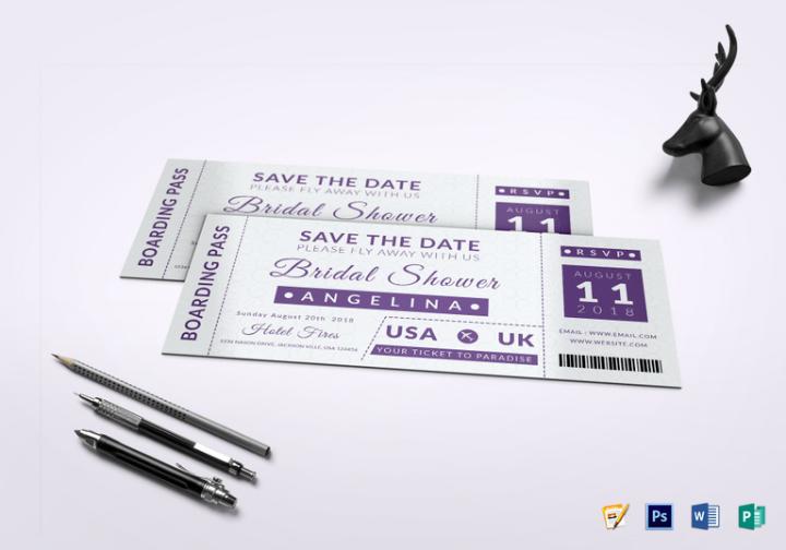bridal shower boarding pass ticket template psd