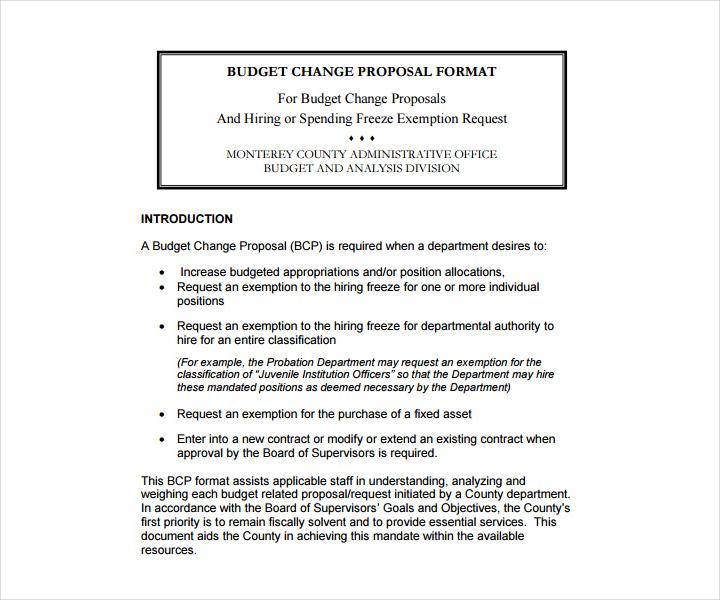 Budget Change Proposal Format