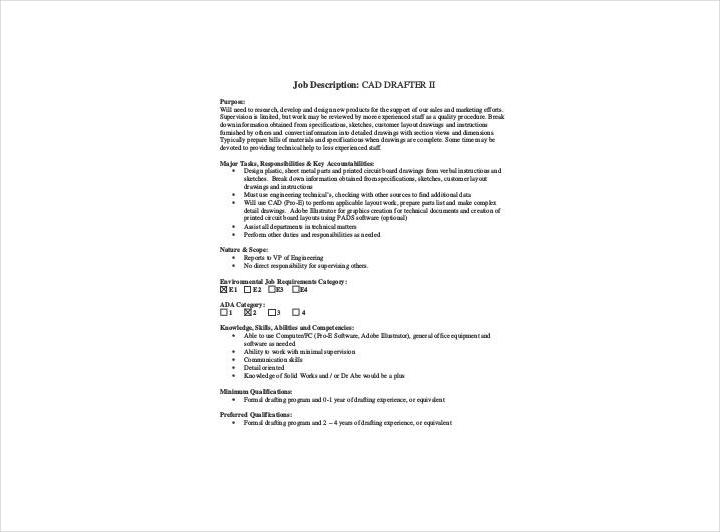 cad drafter job description