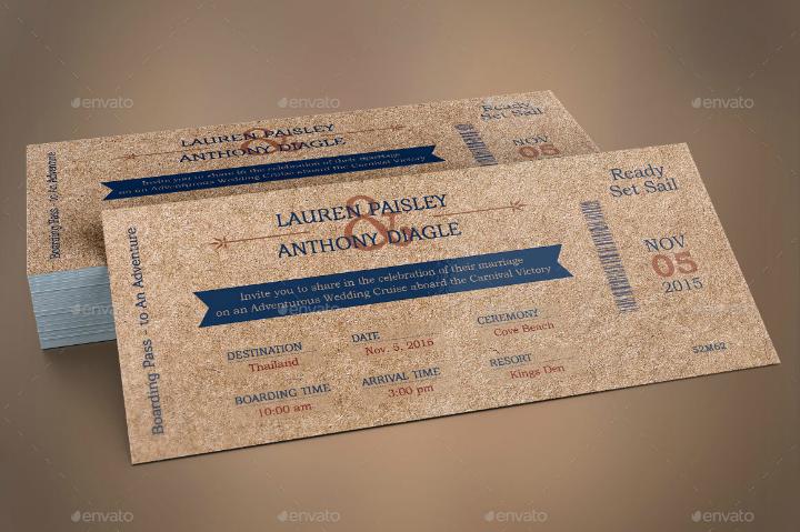 cardboard boarding pass wedding invitation template